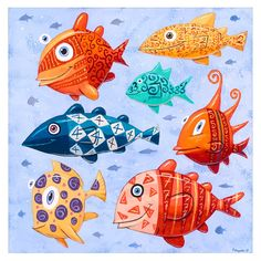 "Painting: ""Seven Swimming Fish"" - by artist F. Fish Artwork, Yellow Fish, Colorful Fish, Aquarium, Original Paintings, Swimming, Canvas, Artist, Pisces"