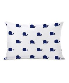 Loving this Whale & Stripe Reversible Rectangle Throw Pillow on #zulily! #zulilyfinds