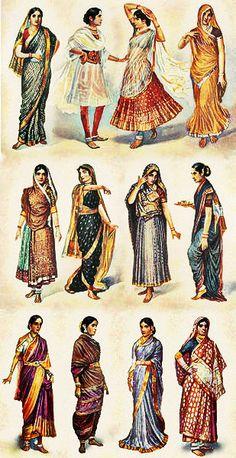 Vintage Photographs of Indian Women show the various sari draping...