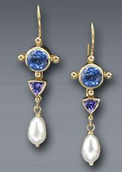 Timeless elegant blue sapphire and pearl dangle earnings