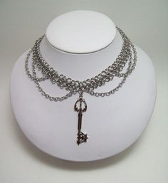 chainmaille necklace, keyblade, kingdom heart, geekery, geeky jewelry, keyblade necklace, geek, video game. $30.00, via Etsy.