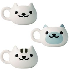 A smile is good for cheering up people, but smiley cats are even more so! Each of these **3.9-inch mugs** are made in the shape of a cat's head with the face of a happy kitten printed on it. Choose from **Shironeko-san**, **Point-san**, and **Shirotora-san** or get the whole set and start your morning with these merry felines!