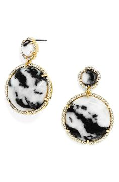 Beautifully marbled black-and-white stone lends stunning depth and pattern to these statement-making earrings accented with pavé-set crystals for a dose of shine.