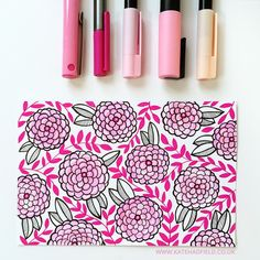 Index Card a Day: 4/61 Playing with pink! Various pink and black pens on a 6x4 index card.