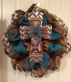READY TO SHIP Rustic Chevron Tin Cross by SouthernSwagNWreath, $55.00