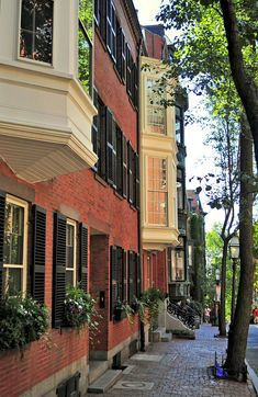 From Boston's Louisburg Square we headed up Pinckney Street, which has all the details (gas street-lamps, brick sidewalks etc) that Beacon Hill is famous for ~ Photo Oh The Places You'll Go, Places To Visit, Beacon Hill Boston, Boston Living, Brick Sidewalk, Beautiful Homes, Beautiful Places, A New York Minute, Boston Massachusetts