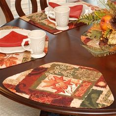 Wedge Placemats: Fall Patchwork Leaf Print Wedge Shaped Round Table Placemat  At SweetPeaLinens.