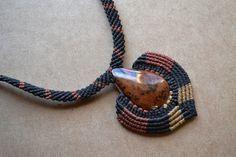 Brown Stone Macrame Necklace/ Mahogany