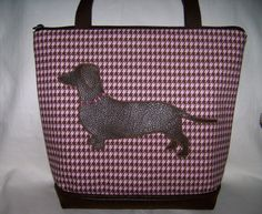 Pink Houndstooth Dachshund HandbagPurseBag with by OscarsCreations, $60.00