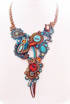 cool Soutache jewelry. Handmade Jewelry, soutache necklace, beaded jewelry, handmade soutache necklace