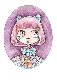 KAWAII KITTY   Blythe painting   dollhouse by BlytheFairyTales