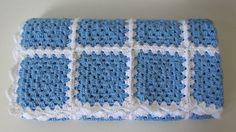 "Blue Baby Blanket Blue Crochet Baby Blanket 31.5""x31.5"""