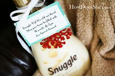 "Neighbor Gift Idea #3: ""Snuggle Up! It's cold out there! May your home be filled with warmth and love this season!"" {Loads of other #neighbor #gift #ideas on howdoesshe.com}"