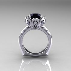 Classic 10K White Gold 30 Carat Black Diamond Greek by artmasters, $1,599.00