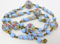 Antique-Art-Deco-Venetian-Glass-Gold-Aventurine-Wedding-Cake-Bead-Necklace