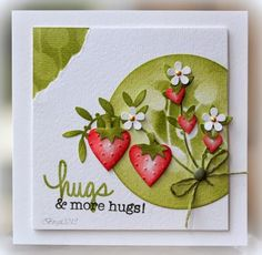 Made a card yesterday for a sketch challenge. I used my new heart dies, Nested Hearts ,  from Technique Tuesday , perfect for strawberries :...