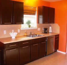 Kitchen Colors With Brown Cabinets orange walls |  wall or trim/chair railplease help!-kitchen