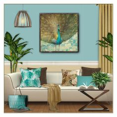 """""""Pretty Peacocks!"""" by truthjc ❤ liked on Polyvore featuring interior, interiors, interior design, home, home decor, interior decorating, Ready2hangart, JAG Zoeppritz, DENY Designs and Old Hickory Tannery"""