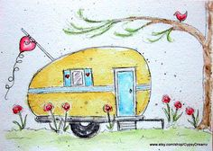 Camper Love watercolor print  Etsy listing at https://www.etsy.com/listing/161902857/camper-love-watercolor-print