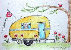 Camper Love watercolor print  Etsy listing at https://www.etsy.com/listing/161902857/camper-love-watercolor-print