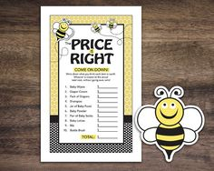 Instant Download, Bee Theme Baby Shower The Price Is Right Game Cards, Bumblebee Printable Party Sheets for Girl Boy Unisex #36A