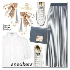 Crystal Cluster Earrings by mada-malureanu on Polyvore featuring T By Alexander Wang, Weekend Max Mara, Converse and Furla