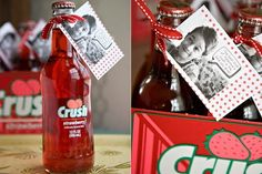 Cute Valentine idea using a bottle of strawberry or cherry Crush soda and a tag. I think I will do drinks instead of candy for the school, no one every brings anything to drink!