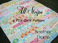 Strip Quilt Pattern All Strips Fat Quarters by SunnysideFabrics