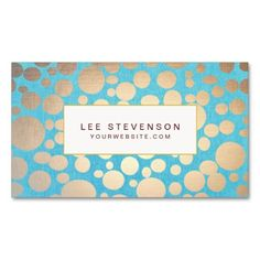 Turquoise Linen and Gold Circles Look Beauty Salon Business Card Template