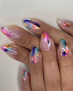 Cute Acrylic Nails, Acrylic Nail Designs, Gel Nails, Gel Designs, Toe Nail Designs, Nail Nail, Minimalist Nails, Funky Nails, Colorful Nails