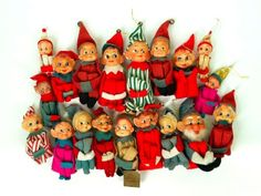 Lot 19 Vintage Christmas Elf Pixie Knee Hugger Elves Felt Burlap Striped Pink | eBay