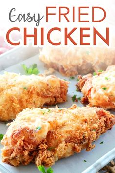 Crispy Buttermilk Fried Chicken Breast - Boneless, skinless chicken breast are irresistibly crunchy and golden on the outside with flavorful and juicy white meat chicken on the inside! Fried Chicken Boneless, Fried Chicken Recipes, Baked Chicken, Perfect Fried Chicken, Southern Fried Chicken Breast Recipe, Simple Fried Chicken Recipe, Country Fried Chicken, Healthy Fried Chicken, Keto Chicken