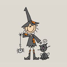Halloween Witch And Cat Stick Figures