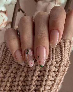 Best Acrylic Nails, Acrylic Nail Designs, Rounded Acrylic Nails, Flower Nail Designs, Simple Nail Art Designs, Short Nail Designs, Stylish Nails, Trendy Nails, Cute Short Nails