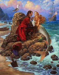 Scott Gustafson - The Pirate And The Mermaid Fairy Tale Fantasy Mermaids, Mermaids And Mermen, Real Mermaids, Fantasy Kunst, Fantasy Art, Fantasy Creatures, Mythical Creatures, Photocollage, Fairytale Art