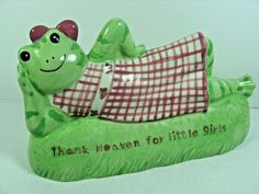 THANK HEAVEN FOR LITTLE GIRLS Ceramic Frog Coin Bank HATTIE by Kelly Rightsell #KellyRightsell