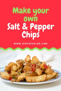 Salt and pepper chips are one of my favorite things to get at a Chinese takeaway. Here's a quick and easy way to make the delicious side dish t at home, using oven chips and fresh chilli. Healthy Chinese Recipes, Veggie Recipes, Asian Recipes, Mexican Food Recipes, Dinner Recipes, Healthy Recipes, Veggie Food, Vegetarian Food, Potato Recipes
