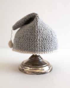 rain drop:  hand-crochet recycled cashmere hat