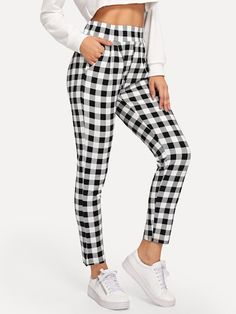 Shop Elastic Waist Plaid Pants at ROMWE, discover more fashion styles online. Skinny Fashion, Plaid Fashion, Plaid Pants, Harem Pants, Striped Pants, Checked Trousers, Elastic Waist, Pants For Women, Outfits