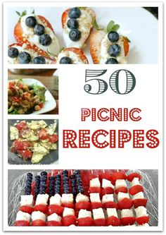 I think I have your party covered for food with these 50 picnic recipes! Whether you're planning a party for Memorial Day, the of July, Labor Day, or just a fun summer gathering, you'll find a bunch of recipes here to make your life easier! Summer Recipes, Holiday Recipes, Dinner Recipes, Picnic Recipes, Picnic Ideas, Dessert Recipes, Desserts, Picnic Snacks, Picnic Dinner
