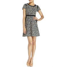 UTTAM BOUTIQUE Short Sleeve Floral Print Dress ($56) ❤ liked on Polyvore featuring dresses, blacks, short-sleeve dresses, zip dress, uttam boutique, short sleeve floral dress and zipper dress