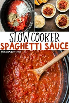 Slow Cooker Spaghetti sauce is slow-cooked and full of vegetables and herbs; perfect over any shape of pasta. Homemade spaghetti sauce slow cooked to perfection. Just pour over noodles when you arrive home. Slow Cooker Recipes, Crockpot Recipes, Cooking Recipes, Slow Cooking, Slow Cooker Spaghetti Sauce, Spaghetti Sauce Recipes, Best Spaghetti Sauce, Cooking Spaghetti, Pasta Sauce Pressure Cooker