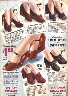 1940s fashion... shoes by National Bellas Hess Catalog (circa 1941)