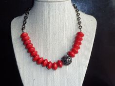 Red and silver beaded necklace with steel chain by terrygoddard, $22.00