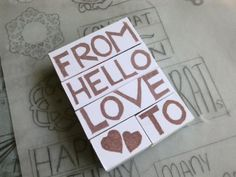 Hand carved rubber stamp  From Hello Love To by jollygoodday, $10.00