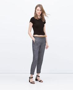 Image 1 of LINEN TROUSERS WITH BELT from Zara