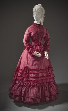 Woman's Promenade Dress United States, circa 1870 Silk taffeta, linen plain weave and cotton twill weave with silk macramé fringe (M.2007.211.773a-d) | LACMA Collections