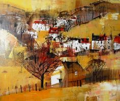 BRASCOMBE, DEVON BY MIKE BERNARD. Utilizing a series of houses flowing randomly over the hills creates a lively and colorful image. A very happy painting utilizing buildings. Watercolor Landscape, Abstract Landscape, Landscape Paintings, Abstract Art, Mike Bernard, Building Art, Inspirational Artwork, Autumn Art, Urban Sketching