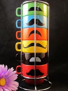Multi Color Six Stackable Mustache Mug by kaoriglass on Etsy, $35.00