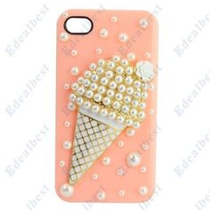 $8.56 Lovely Pearl Ice Cream Pattern Plastic Case Cover For iphone 4s 4(Pink) Edealbest.com